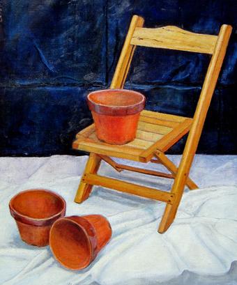 油_植木鉢とイス