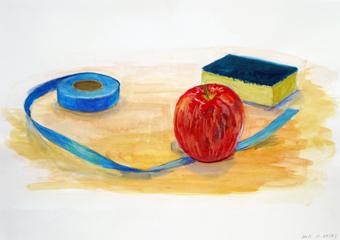 着_リンゴと紙テープ