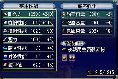 G3大安宅船強化値(´∀`_)ノ