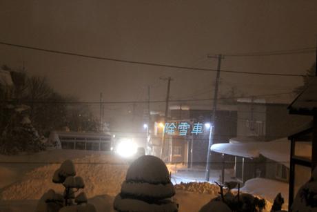 昨日の夜除雪車