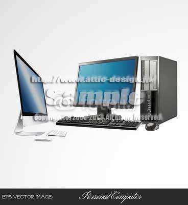 イラスト PC(IMAC & HP)