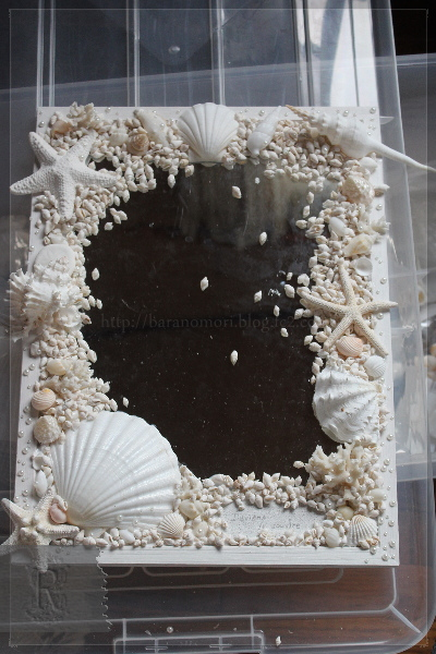 DIY ハンドメイド 貝殻 鏡 20130626