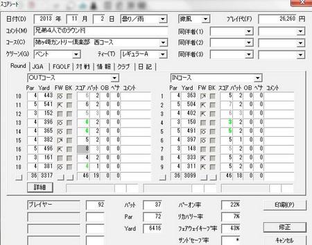 20131102姉ヶ崎スコア