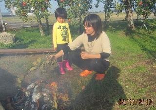 りんご園で焼き芋