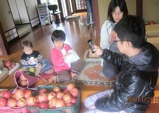 リンゴ拭い