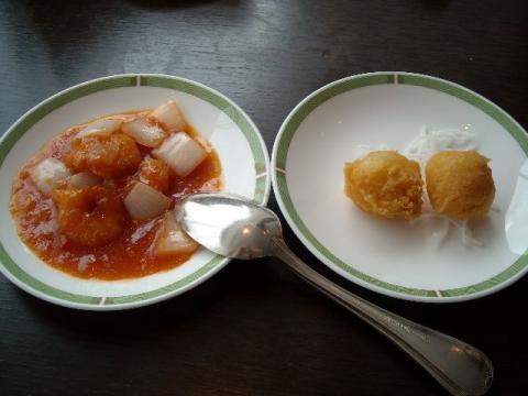 桃季・海老チリ・蟹と生クリームの揚げ物