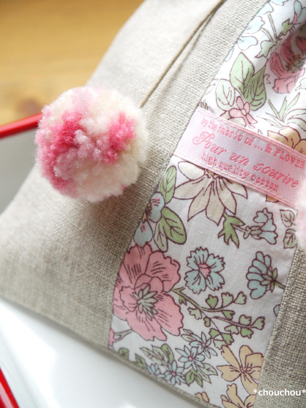 ぽんぽんリボンの巾着 ピンク 2