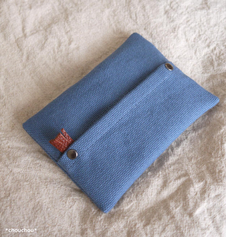ブルー 帆布 ポケティケース1
