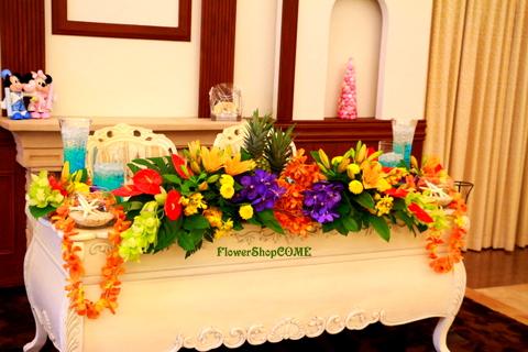 メインテーブル装花(南国風)