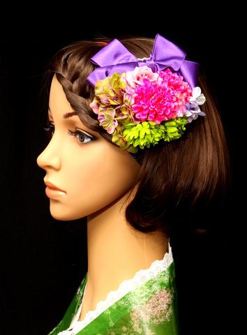 手作り浴衣用髪飾り(造花とリボン)紫。マム・バラ・アジサイなどを使用