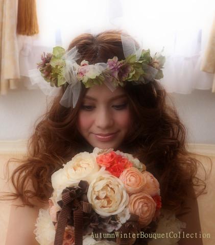 造花ラウンドブーケ(秋・冬コレクション)オレンジ系と花冠