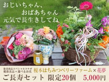 敬老の日ギフト~はちみつ&ウコンとお花のセット(花束orアレンジor寄せ鉢)