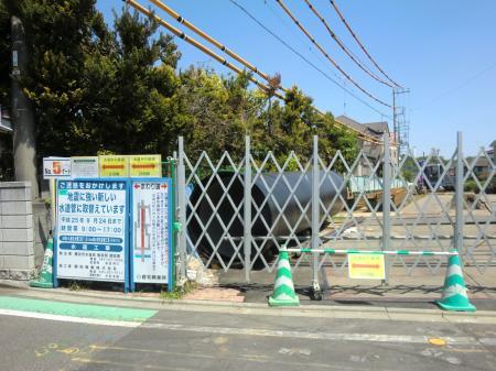 横浜水道鳩川水管橋布設替え工事到達立坑付近