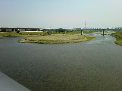 相模大堰管理橋より下流を望む