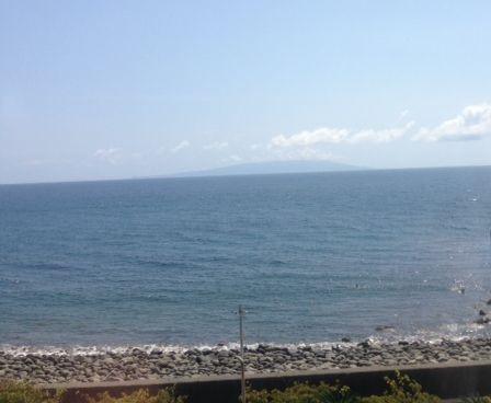 踊り子号からの大島眺望
