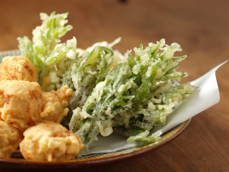 鶏天山菜天ぷら28