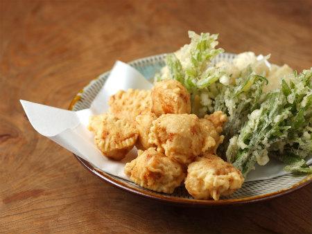 鶏天山菜天ぷら25