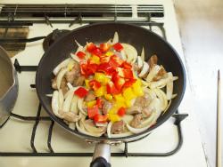 鶏肝トマト煮パスタ08