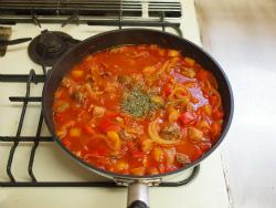 鶏肝トマト煮パスタ13