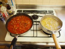 鶏肝トマト煮パスタ14