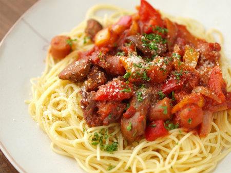 鶏肝トマト煮パスタ31