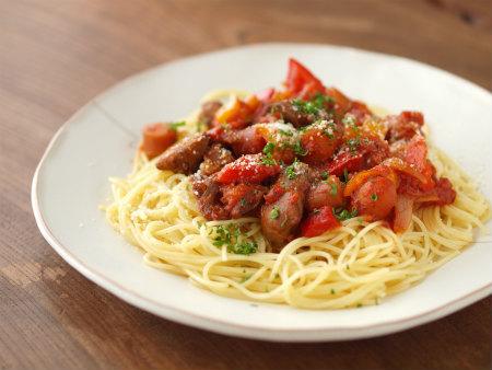 鶏肝トマト煮パスタ23