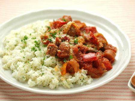 鶏肝のトマト煮バターライス11