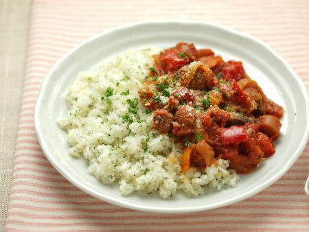 鶏肝のトマト煮バターライス12