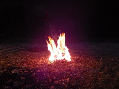 2013キャンプで焚き火