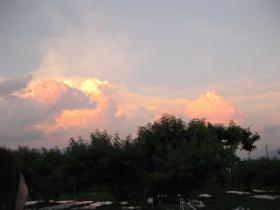 桃色の夕日