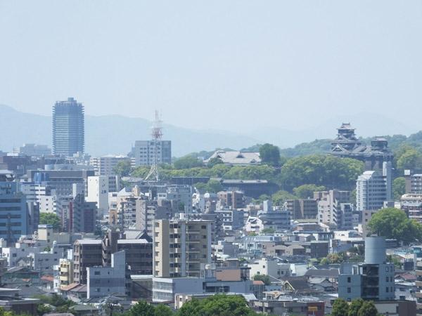 立田山配水池から熊本市街地の眺め