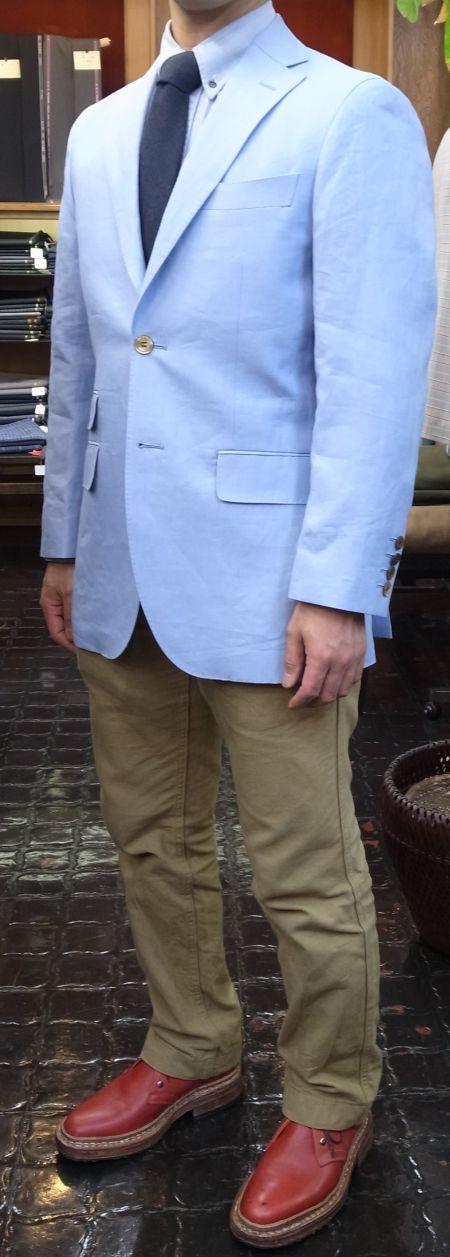 水色の麻のジャケット
