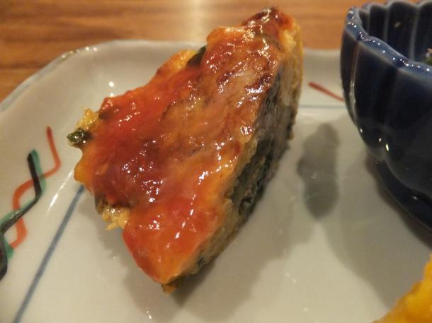 牡蠣と春菊の玉子焼き