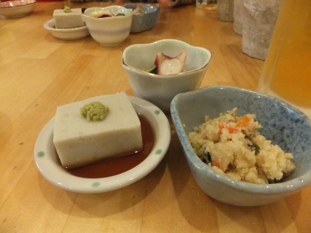 卯の花、そば豆腐、酢のもの