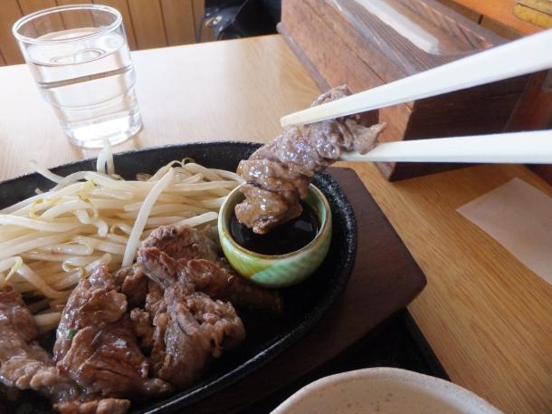 中落ちカルビの鉄板焼き定食