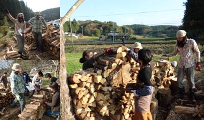 薪アート作り