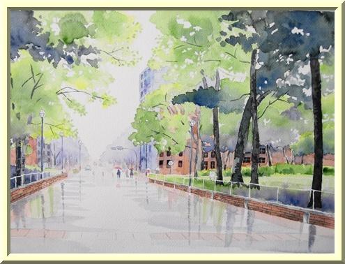 小雨降る横浜