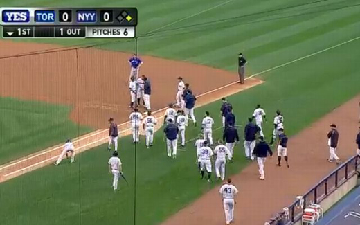 yankees stream out of dug out to