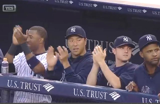 yankees dug out as ichiro hits 4000