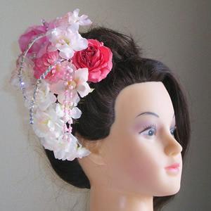 スワロフスキー入りピンクローズと桜の成人式髪飾り