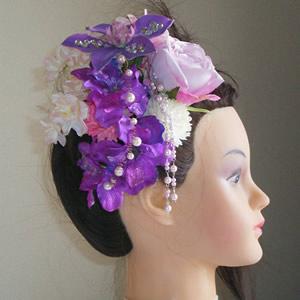 スワロスキー入りクレマチスとローズと桜の和装髪飾り