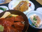 ミニづけ丼とマグロかつの定食