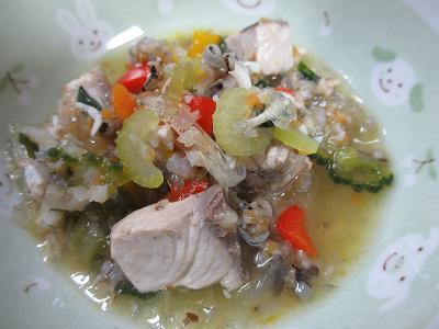 青魚としらす入りのスープ