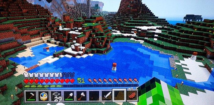 池でスノーゴーレムが水で戯れてます。ダメージは無いみたいです!?