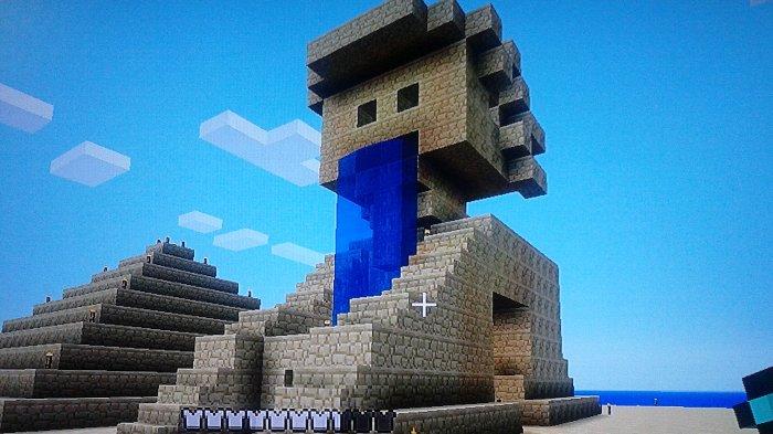 スフィンクスもどき石像が鎮座しています