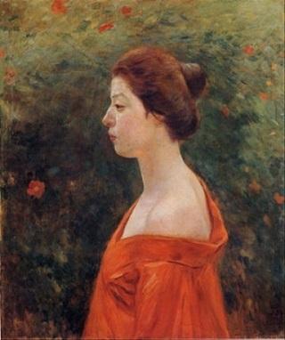 黒田清輝「赤き衣を着たる女」