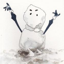 女子高生がつくった雪だるま