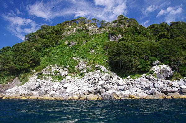 三貫島の崩落斜面