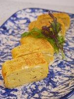Dashi-maki-egg on plate