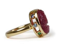 K18ピンクトルマリンサファイアグリーンガーネットアクアマリンタンザナイト指輪